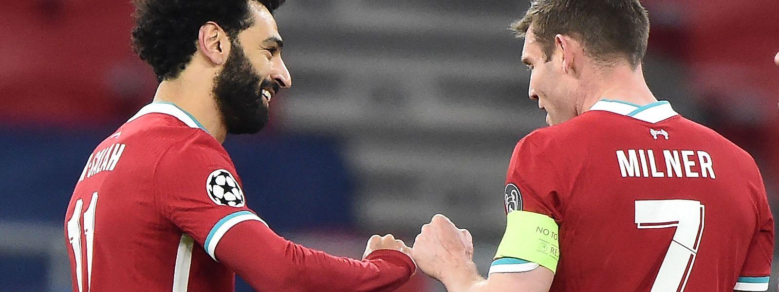 Freude bei den Liverpool-Spielern: Mohamed Salah und James Milner.