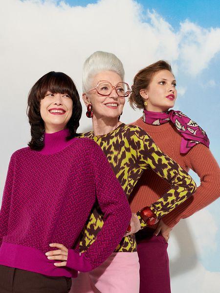 Starkes Trio: Strickmode kennt keine Grenzen – und kein Alter. Pullover von Eric Bompard, ab 265 Euro.