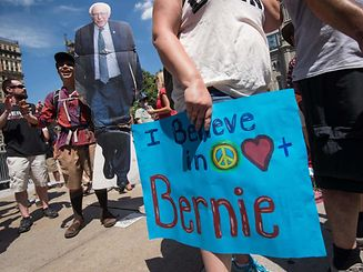 Most supporters of Sanders consider themselves on the opposite side of the political spectrum from the brash billionaire real estate tycoon who secured the Republican presidential nomination last week.