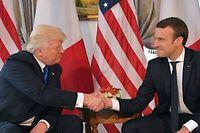 Der Händedruck des Jahres: Mit einem mehreren Sekunden langen Handshake besiegeln US-Präsident Donald Trump und Frankreichs Präsident Emmanuel Macron beim NATO-Treffen im Mai 2017 ihre Männerfreundschaft.