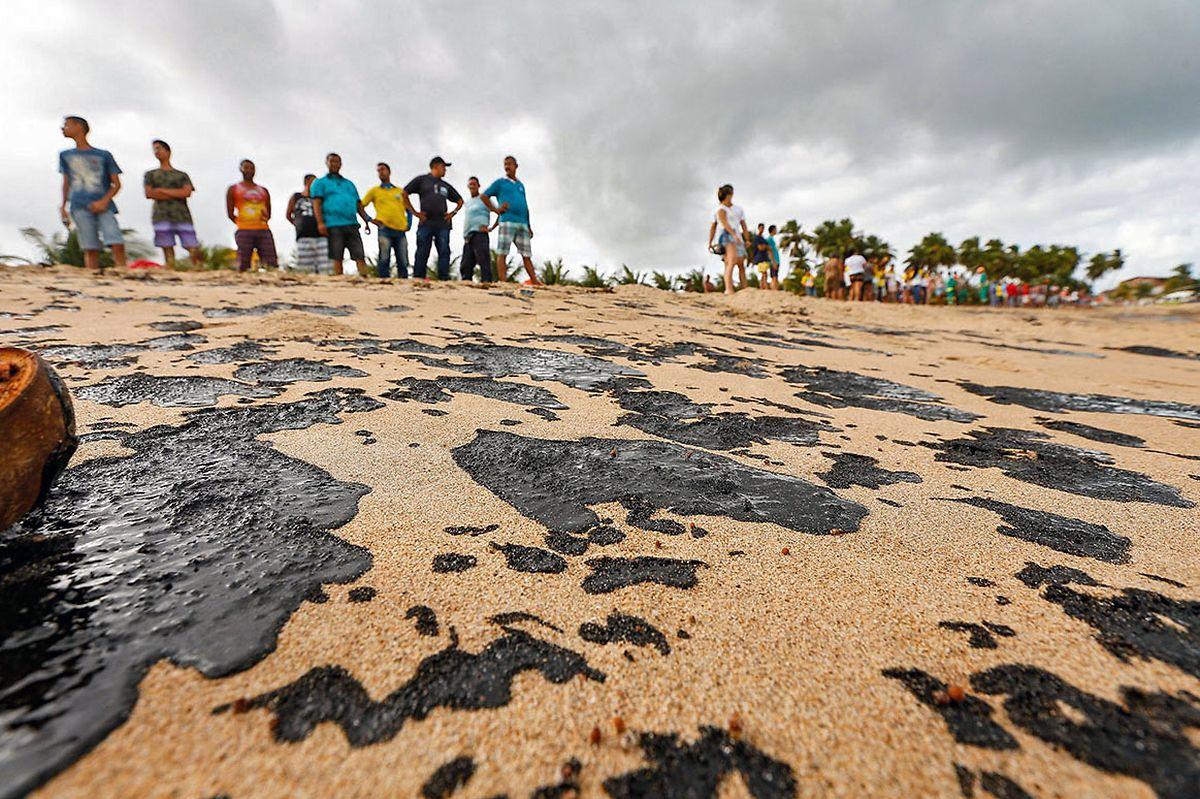 Reinigungsarbeiten am Strand Japaratinga im Bundesstaat Alagoas: Mehr als 200 Strände im Nordosten von Brasilien wurden mit Öl verschmutzt.