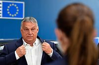 (FILES) In this file photo taken on July 19, 2020 Hungary's Prime Minister Viktor Orban arrives for the EU summit on a coronavirus recovery package at the European Council building in Brussels. - Hungary and Poland blocked approval on November 16, 2020 of the EU's long-term budget and coronavirus rescue -- a 1.8-trillion-euro package -- and plunged the bloc into political crisis. (Photo by JOHN THYS / POOL / AFP)
