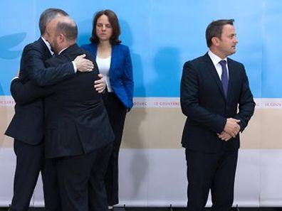 Nicht mehr ganz so einträchtig wie in der Euphoriephase: Die Minister der Dreierkoalition Xavier Bettel, Corinne Cahen, Etienne Schneider und Felix Braz (v.r.n.l.).