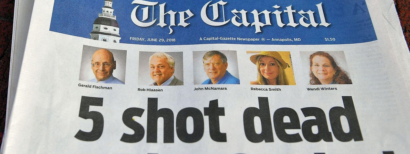 """Die Titelseite der """"Capital Gazette"""" vom Freitag."""