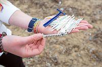 """20.03.2018, Spanien, Mallorca, Palma: Alice Mason von der Umweltorganisation """"Ondine Baleares"""" zeigt Reste von Wattestäbchen, einer Spritze und eines Einmalrasierers, die sie in kurzer Zeit am Strand in der Bucht von Palma zwischen Müll und sanitären Abfällen gefunden hat. Bei Regen sind die Klärwerke von Palma schnell überfordert und ungeklärte Abwässer der Balearenhauptstadt fließen direkt ins Meer. Der Müll schwemmt dann an die Strände und mischt sich mit dem Neptungras (Posidonia oceanica) im Sand. (zu dpa """"Ein Bad in der Brühe: Mallorca, Meer und Müll"""" vom 31.05.2018) Foto: Bodo Marks/dpa +++ dpa-Bildfunk +++"""