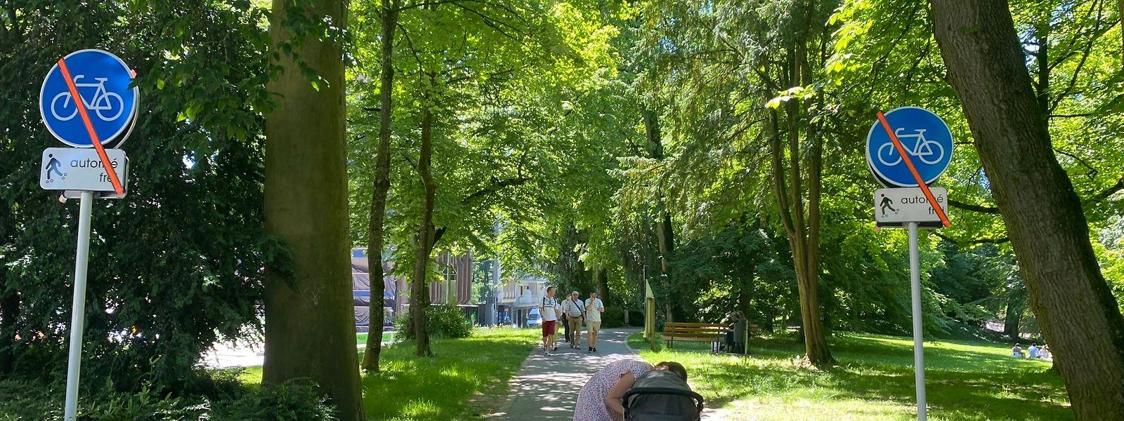 Seit Mittwoch gilt im Stadtpark eine neue Reglementierung, mit einem Pflichtweg für Radfahrer, zwei gemischten Wegen und einem Radfahrverbot im restlichen Park.