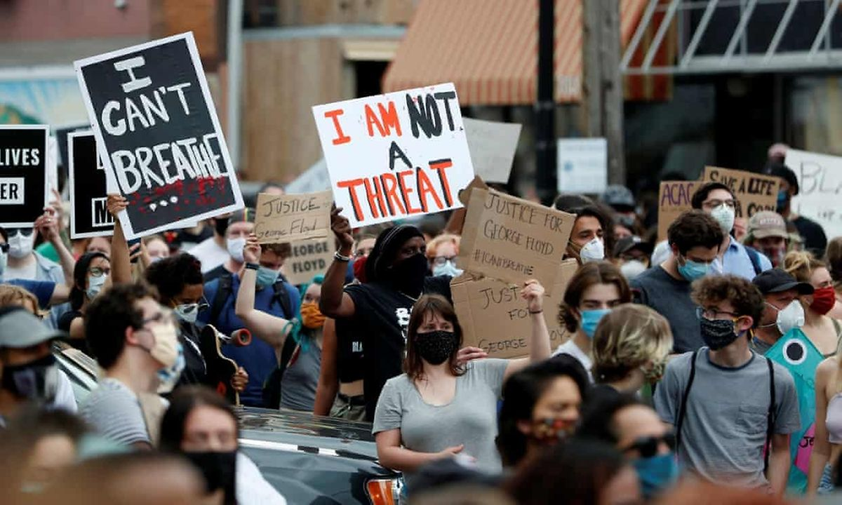 Protestos por justiça à morte de George Floyd, em Minneapolis, Estados Unidos da América