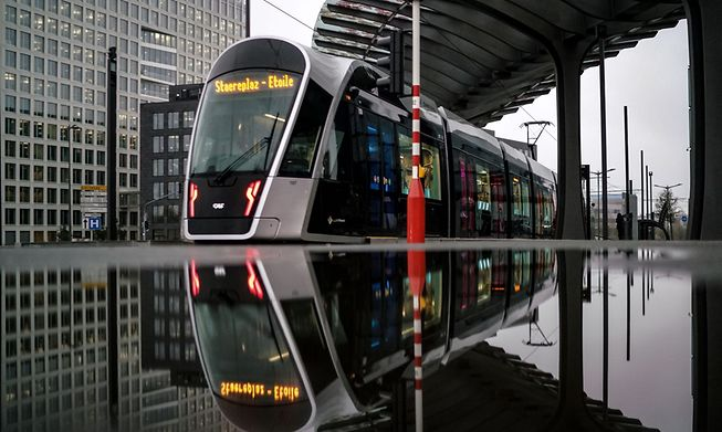 A tram coming into Luxembourg's financial district in Kirchberg