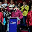 Venezuelan President Nicolas Maduro (L) addresses supporters after the National Electoral Council (CNE) announced the results of the voting on election day in Venezuela, on May 20, 2018. President Nicolas Maduro was declared winner of Venezuela's election Sunday in a poll rejected as invalid by his rivals, who called for fresh elections to be held later this year. With more than 90 percent of the votes counted,  Maduro had 67.7 percent of the vote, with his main rival Henri Falcon taking 21.2 percent, the National Election Council chief Tibisay Lucena announced. / AFP PHOTO / JUAN BARRETO