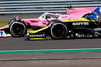 Racing Point's Canadian driver Lance Stroll (L) and Renault's French driver Esteban Ocon (R) race during the Formula One British Grand Prix at the Silverstone motor racing circuit in Silverstone, central England on August 2, 2020. (Photo by ANDREW BOYERS / POOL / AFP)