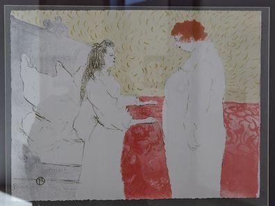 """2.5. Kultur /Esch/Alzette /Pavillon du Centenaire / Expo Toulouse-Lautrec / """"Deux Femmes ou la Conversation """" , Album Elles , Chromolithographie , 1896 Foto:Guy Jallay"""