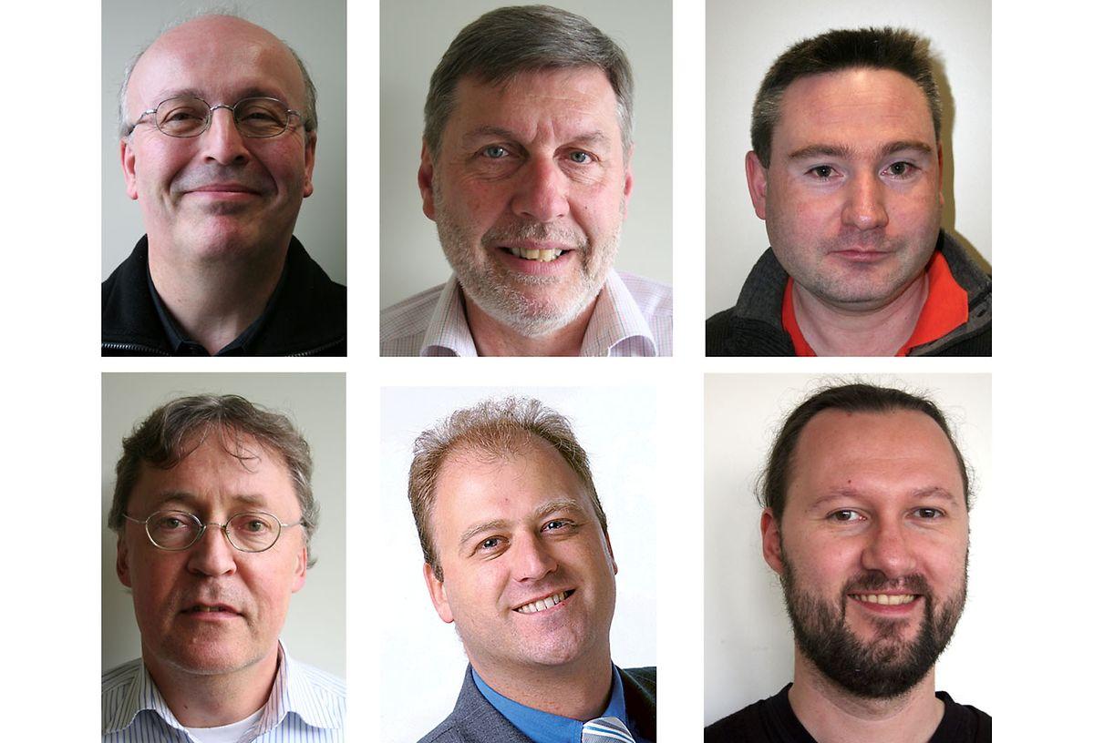 """Mitarbeiter des """"Luxemburger Wort"""". Obere Reihe von links: Ralf Reisdorf, Marc Willière, Xavier Lulof. Untere Reihe ab links: Pierre Leyers, Andreas Holpert, Jan Söfjer."""