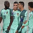 Portugal's forward Cristano Ronaldo (2nd-R) celebrates with his teammates after scoring a goal during the FIFA World Cup 2018 football qualifier between Andorra and Portugal at the Municipal Stadium in Andorra la Vella, on October 8, 2017. / AFP PHOTO / PASCAL PAVANI