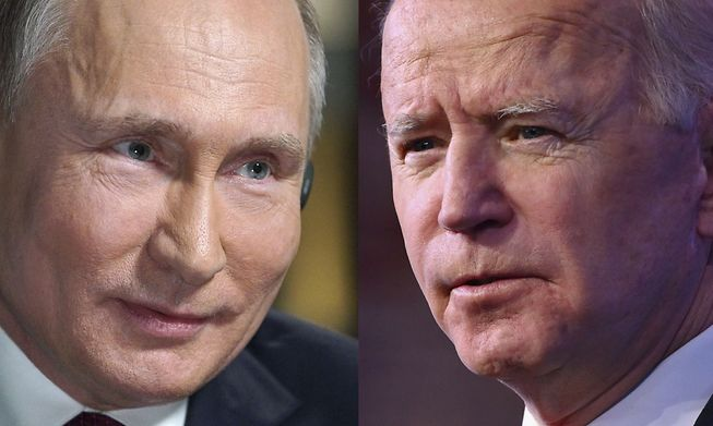 Russia's president Vladimir Puting (left) and US president Joe Biden