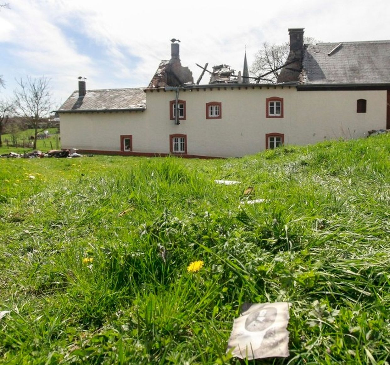 La maison de Lambert Schlechter à Eschweiler après l'incendie.