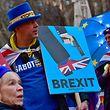 14.01.2019, Großbritannien, London: Demonstranten stehen vor dem Parlament. Mit neuen Zusicherungen der Europäischen Union hat die britische Premierministern May um Unterstützung ihres Parlaments für den Brexit-Vertrag gekämpft. Foto: Victoria Jones/PA Wire/dpa +++ dpa-Bildfunk +++