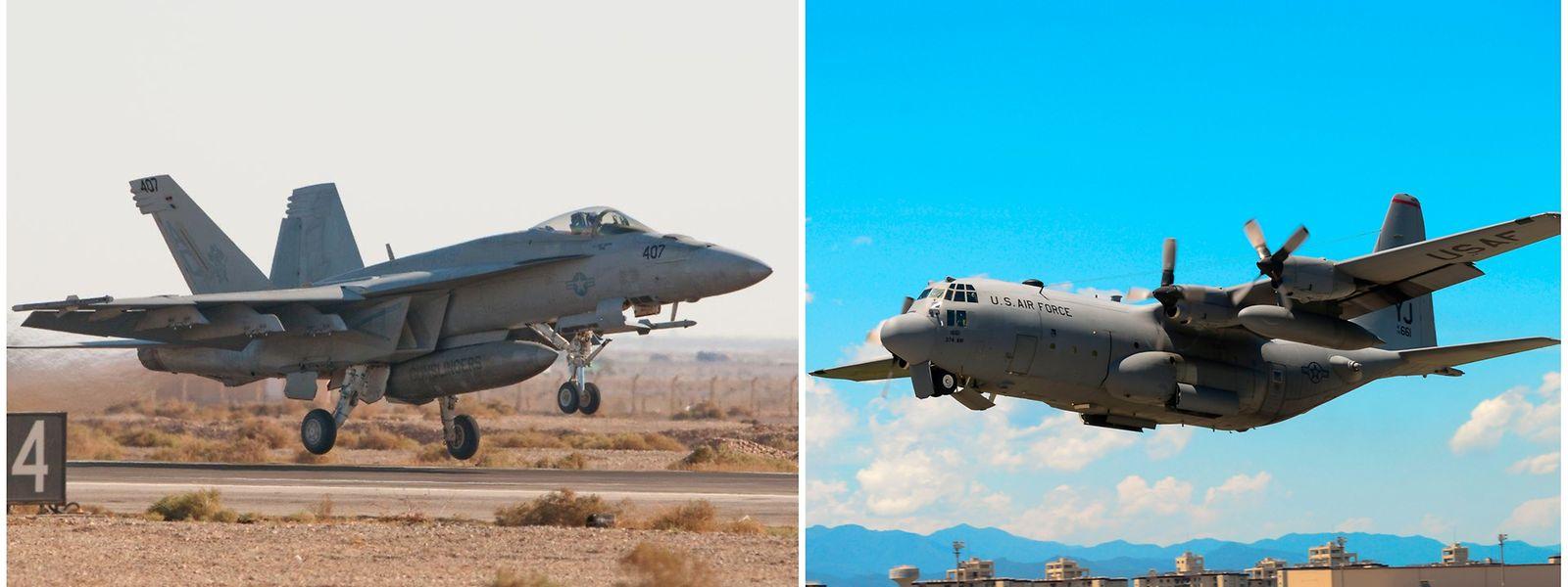 Der F18-Kampfjet (links) kollidierte möglicherweise beim Auftanken mit dem Tankflugzeug vom Typ KC 130 Hercules.