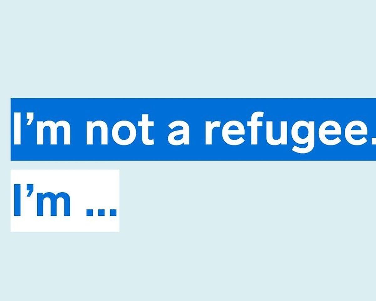 """Das Motto der Seite: """"I'm not a refugee""""."""