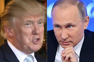 (COMBO) This combination of pictures created on December 30, 2016 shows a file photo taken on December 28, 2016 of US President-elect Donald Trump (L) in Palm Beach, Florida; and a file photo taken on December 23, 2016, of Russian President Vladimir Putin speaking in Moscow.  US spy chiefs were set to confront an openly dismissive President-elect Donald Trump Friday with their evidence that Russia mounted an unprecedented bid to disrupt the US elections by hacking his Democratic rivals. Trump, who has pledged a rapprochement with President Vladimir Putin's Russia after taking office on January 20, has repeatedly dismissed the findings.  / AFP PHOTO / DON EMMERT AND Natalia KOLESNIKOVA