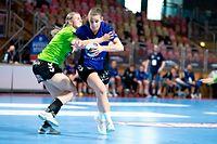 Dea Dautaj (Duedelingen r.) gegen Jenny Zuk (Kaerjeng l.) / Handball, Coupe de Luxembourg Finale Frauen, Duedelingen - Kaerjeng / 02.05.2021 / Luxemburg / Foto: Christian Kemp