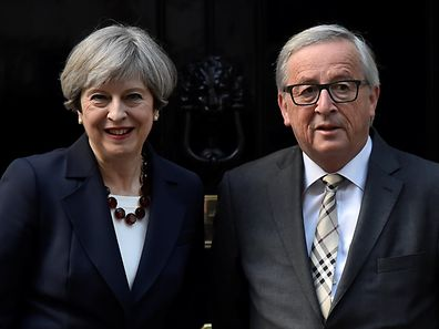 Theresa May with Jean-Claude Juncker at Downing Street