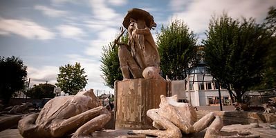 Kropemann, a bearded water spirit, lurks in the River Attert keeping the water clean