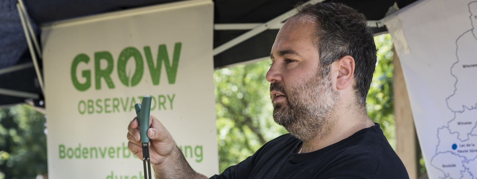 Pavlos Georgiadis,community manager chez GROW Observatory, a présenté le projet ce mercredi 27 juin, sur les hauteurs de Luxembourg-Ville.