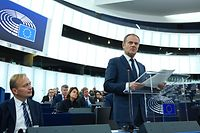 European Council President Donald Tusk speaks during a debate on the results of October EU summit at the European Parliament on October 22, 2019 in Strasbourg, eastern France. (Photo by FREDERICK FLORIN / AFP)
