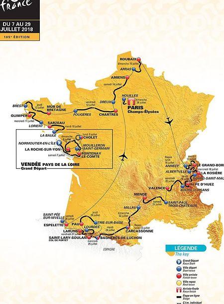 Die Karte der Tour de France 2018.