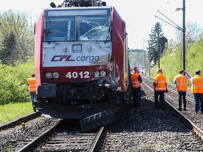 Zugunfall Manternach,Zug fährt in eine Arbeitsmaschine.Foto:Gerry Huberty