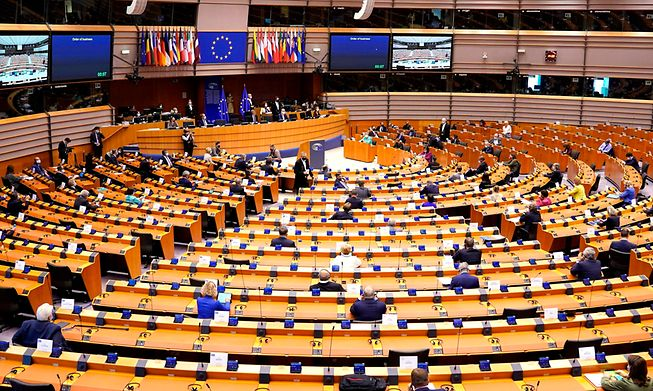 European Parliament in plenary session on July 8, 2020