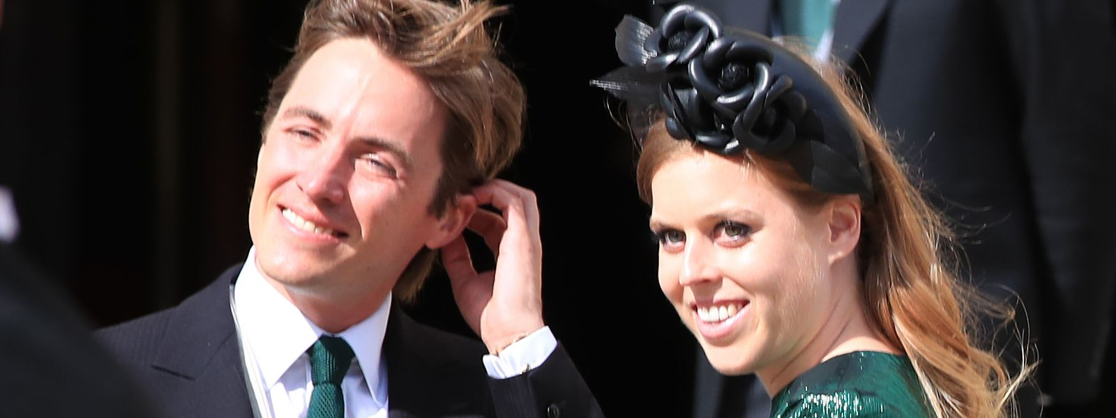 Prinzessin Beatrice und ihr damals noch Verlobter, Edoardo Mapelli Mozzi, als Gäste bei einer Hochzeit in York.