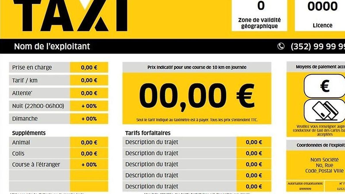 A compter de ce 1er septembre, cette plaque d'affichage devra être visible par le client sur et dans tous les taxis au Luxembourg.