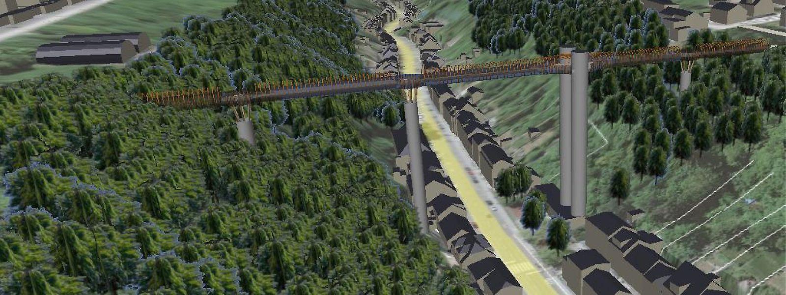 Wald auf der einen Seite, Felsen auf der anderen: Welche Maßnahmen erforderlich sind, um die Brücke an der vorgesehenen Stelle zu realisieren, muss noch im Detail geprüft werden.