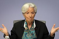 """(FILES) This file photo taken on December 12, 2019 shows the President of the European Central Bank (ECB) Christine Lagarde addressing the media during a news conference following the meeting of the governing council of the ECB in Frankfurt am Main, western Germany. - European Central Bank chief Christine Lagarde said Wednesday, May 27, 2020 she was """"not overly concerned"""" that the coronavirus pandemic could renew fears of the eurozone breaking up, after a report from the Frankfurt institution highlighted the danger. (Photo by Daniel ROLAND / AFP)"""