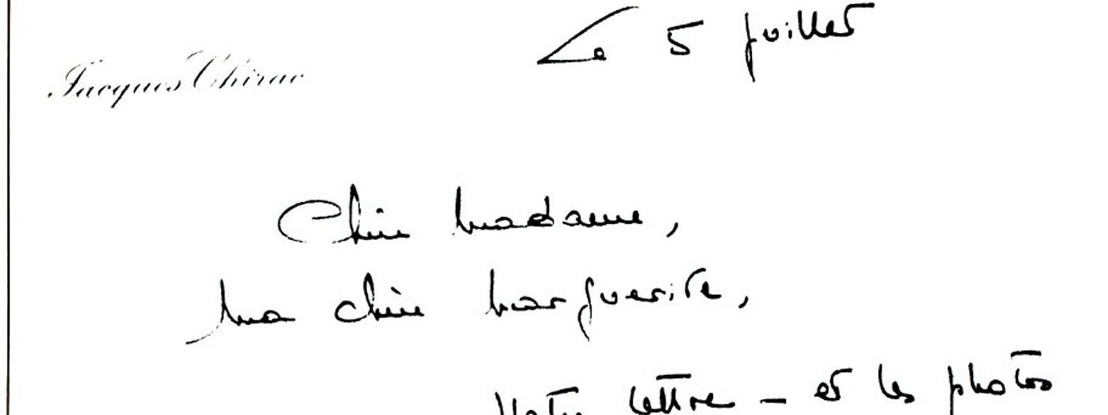 """Chère Madame, ma chère Marguerite""  so beginnt der Brief von Jacques Chirac."