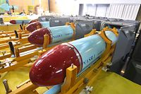 *** CORRECTS DESTRUCTION CAPABILITY TONNAGE TO 1,000 *** In this photo released by the Iranian Defense Ministry, which says Nasr 1 (Victory) missiles are seen in a factory in Tehran, Iran, Sunday, March 7, 2010. Gen. Ahmad Vahidi announced on state TV Sunday a new production line of highly accurate, short range cruise missiles capable of evading radar. The missile named Nasr 1 (Victory) will be capable of destroying targets up to 1,000 tons in size according to Vahidi. Iran frequently makes announcements about new advances in military technology that cannot be independently verified. (AP Photo/Iranian Defense Ministry, Vahid Reza Alaei, HO) ** EDS NOTE: THE ASSOCIATED PRESS HAS NO WAY OF INDEPENDENTLY VERIFYING THE CONTENT, LOCATION OR DATE OF THIS IMAGE. **