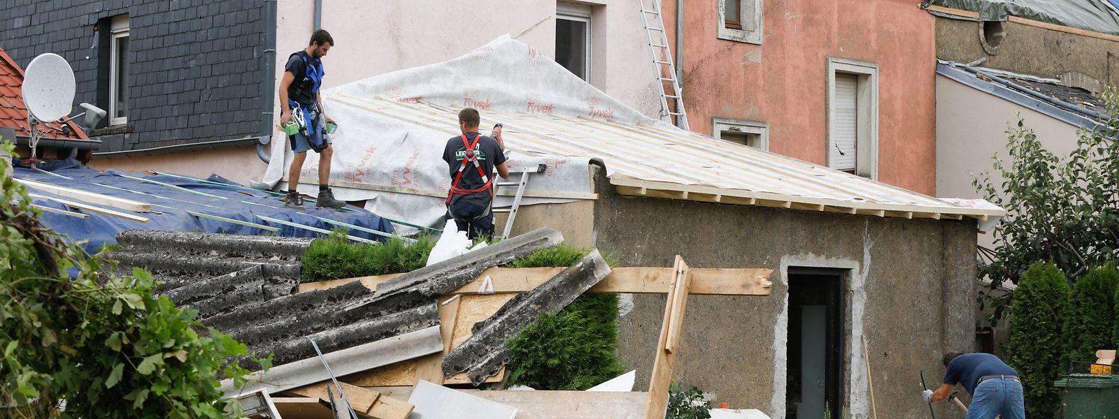 Schäden in der Rue Neuve in Petingen.