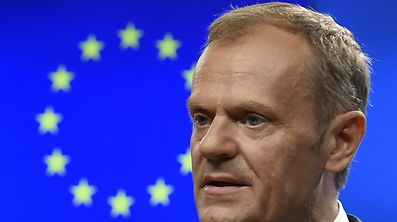 President of the European Council Donald Tusk gives a press conference after their bilateral meeting with Ukrainian President during an European Union leaders summit at the European Council, in Brussels, on June 22, 2017.