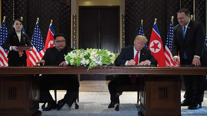 Dois líderes assinaram acordo histórico em janeiro 2018 que tinha em vista a desnuclearização da Coreia do Norte, mas as reuniões que se seguiram após janeiro revelaram-se infrutíferas.