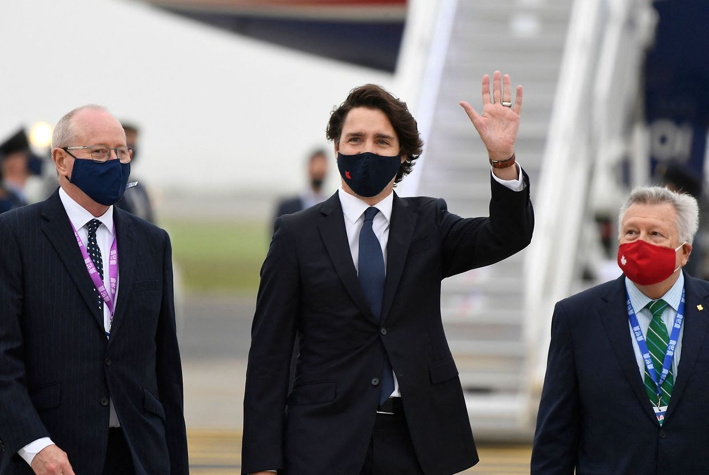 Kanadas Premierminister Justin Trudeau bei seiner Ankunft in England.