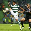 Fredy Montero (L) of Sporting Clube de Portugal vies for the ball with Bajram Jashanica (R) of KF Skenderbeu during the UEFA Europa League group H match , held at Alvalade Stadium in Lisbon, Portugal, 22 October 2015. JOSE SENA GOULAO/LUSA