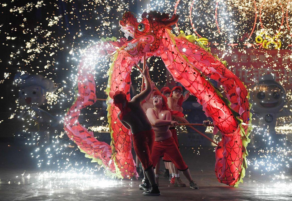 As danças do dragão são uma das imagens mais tradicionais das celebrações do Ano Novo na China.