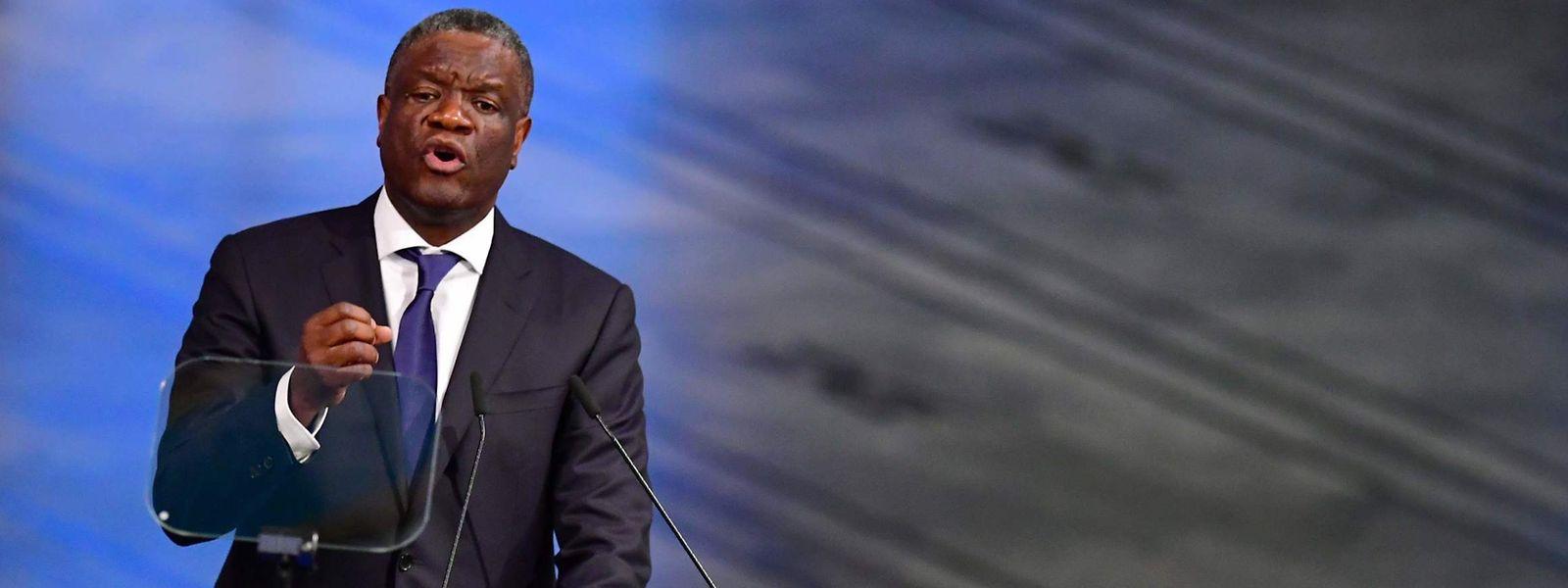 Denis Mukwege lors de la remise du prix Nobel de la paix 2018 à Oslo.