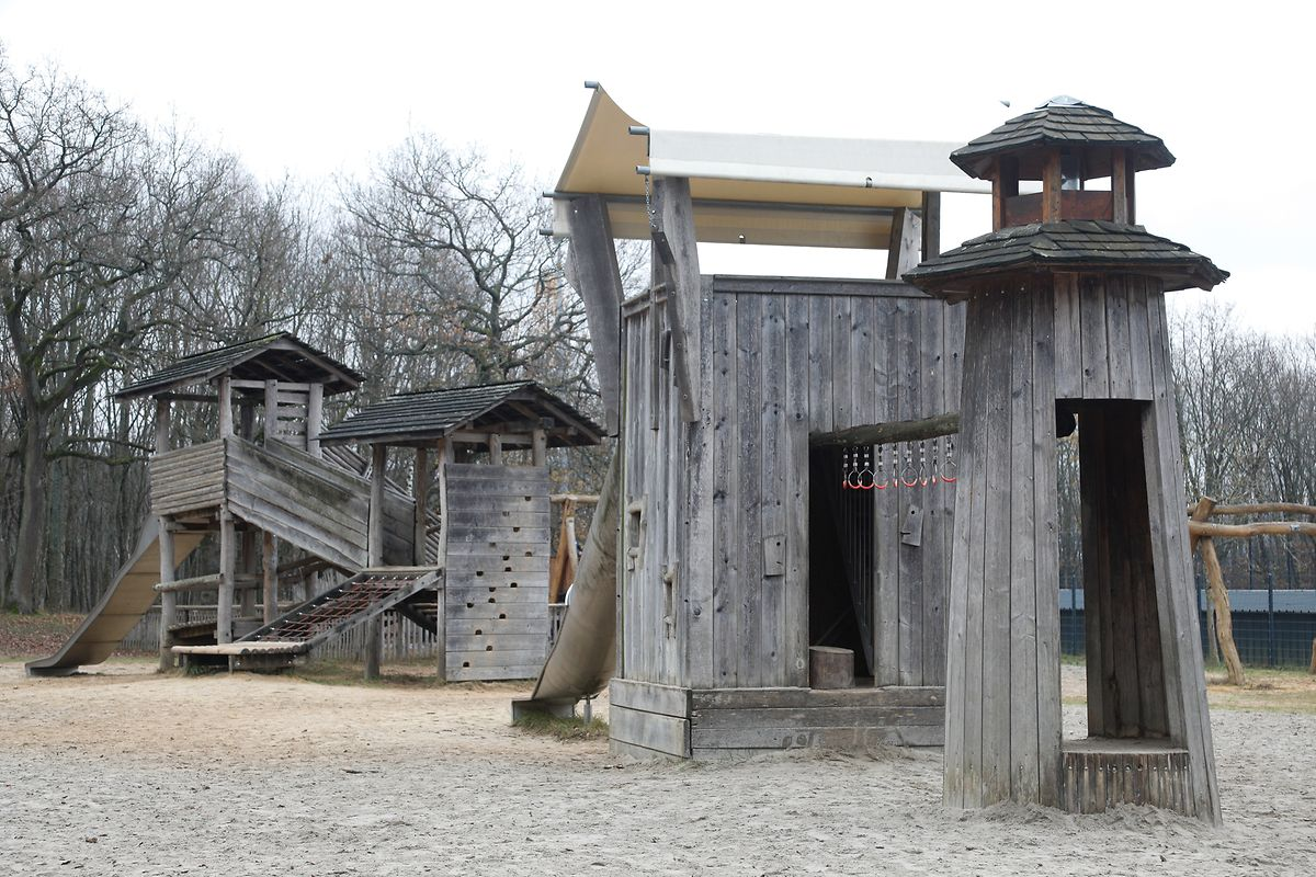The wooden playground at Bambesch has something for all ages but gets quite busy at weekends