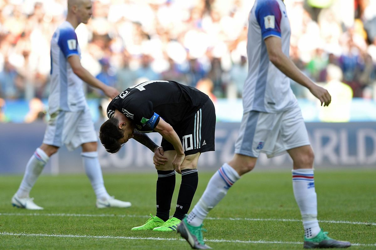 Argentina's forward Lionel Messi reacts during the Russia 2018 World Cup Group D football match between Argentina and Iceland at the Spartak Stadium in Moscow on June 16, 2018. / AFP PHOTO / Juan Mabromata / RESTRICTED TO EDITORIAL USE - NO MOBILE PUSH ALERTS/DOWNLOADS