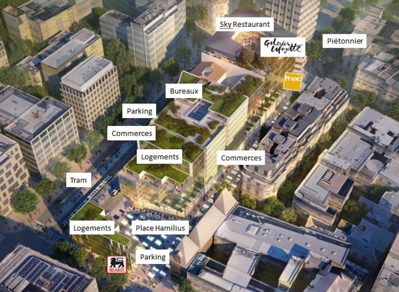 Der künftige Gebäudekomplex von oben. Der Eingang zu den Galeries Lafayette wird sich in der Grand-Rue befinden. Dies Fußgängerzone wird demnach bis hin zum Boulevard Royal erweitert. Auch die Rue Aldringen wird zur Zone piétonne.