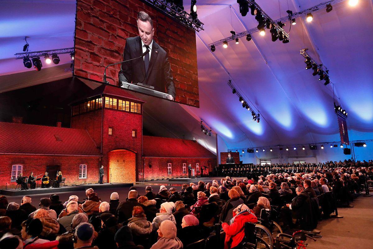 Der polnische Präsident Andrzej Duda spricht bei der zentralen Gedenkfeier.