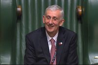 "A still image taken from footage broadcast by the UK Parliamentary Recording Unit (PRU) on November 4, 2019 shows Lindsay Hoyle lisening as Britain's Prime Minister Boris Johnson addresses his in the House of Commons in London, after Hoyle was elected as the new Speaker of the House of Commons. - British MPs will on November 4 select the new speaker of the House of Commons, once an unremarkable event but one now charged with significance following the previous occupant's role in Brexit. (Photo by PRU / PRU / AFP) / RESTRICTED TO EDITORIAL USE - MANDATORY CREDIT "" AFP PHOTO / PRU "" - NO USE FOR ENTERTAINMENT, SATIRICAL, MARKETING OR ADVERTISING CAMPAIGNS"