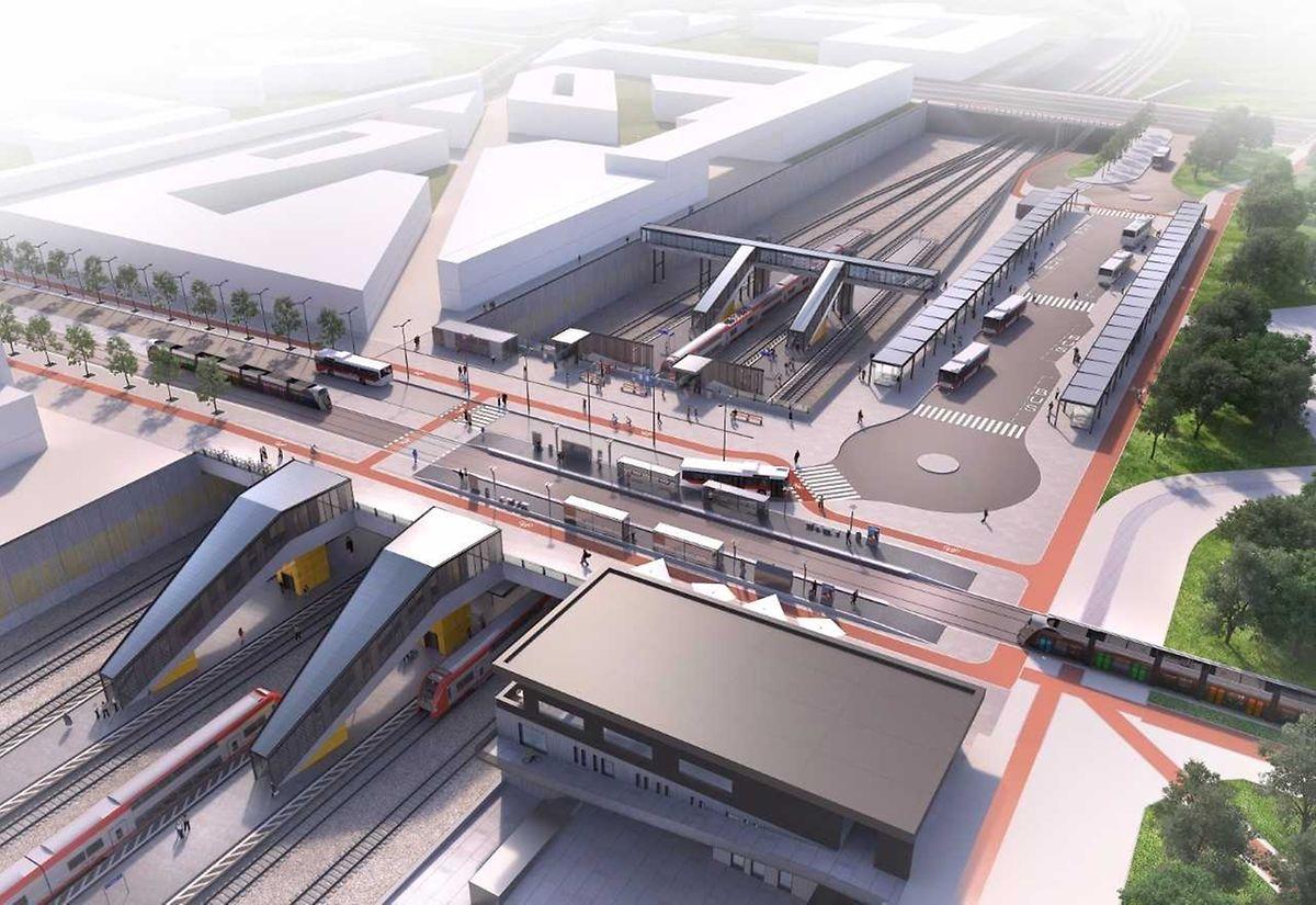 """Der erste von zwei Quais am Peripheriebahnhof Howald wird am 10. Dezember 2017 eröffnet, der zweite zwei Jahre später. Die """"Gare Howald"""" gilt als wichtiger Umschlagpunkt, werden hier doch die Zugpassagiere aus Richtung Süden, die in Cloche d'Or arbeiten, aus- und auf Bus bzw. Tram umsteigen können."""